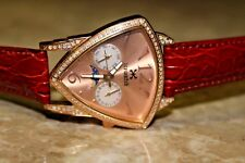 Men's Ice-Watch Stainless Steel Diamond Genuine Leather Gold Color Dial Watch