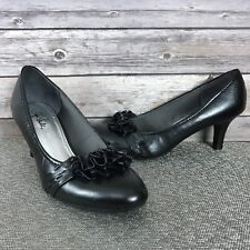 LifeStride Passion Black Ruffle Vamp Accent Pumps Med Stacked Heels Size 11 M