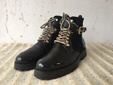 BURBERRY Women's Leather Suede Combat Military Army Black Laced Boots sz 36 EUC