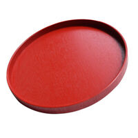 Wooden Round Tray Breakfast Dinner Tray For Serving Food Tea Coffee Red