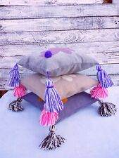 Handmade Cushion bunny and tassel, pillow with pompom, boho decoration