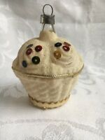 Antique W. Germany Unsilvered Mica Covered. Basket Glass Christmas Ornament