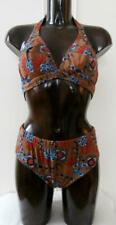 "BNIP Vintage Early 1970's Brown Polyamide Floral Bikini Size 38"" UK 14 Deadstock"