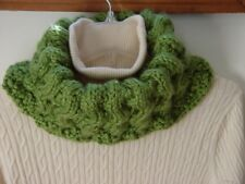 Cowl Neck, Hand knit, infinity Scarf, hoodie, Scarf, Gifts for woman Green