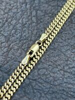 """Solid 14k Gold Miami Cuban Link Chain 3mm Necklace Great For Mens Pendant 18-30"""""""
