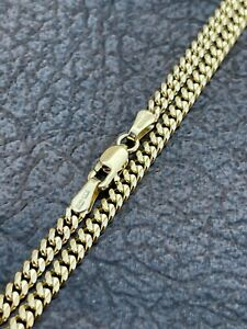 Solid 14k Gold Miami Cuban Link Chain 3mm Necklace Great For Mens Pendant 18-30""