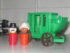 VINTAGE FISHER PRICE LITTLE PEOPLE WESTERN TOWN STAGE COACH INDIAN RED MAN LOT