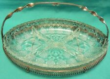Gorgeous Old Oval Divided Relish Dish Metal Caddy & Handle for Fork
