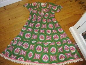 lazybones  cotton vintage style tiered cameo roses dress pom pom hem.