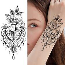 High Quality 19cm x 9cm Temporary Tattoo Black and White Mandala Rose /-b219-/