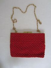 Vintage Woven Red Looped Thread Purse Handbag Made in Hong Kong Gold Chain