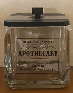 HOTEL BALFOUR BLACK APOTHECARY GLASS APOTHECARY JAR HOLDER COTTON BALL HOLDER