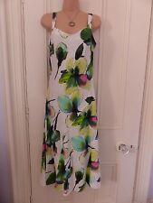 Gorgeous Per Una white linen sleeveless dress UK10R, calf length, floral pattern