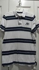 AEROPOSTALE POLO SHIRT SS WHITE BLUE STRIPES EMBROIDERED LETTERS MENS MEDIUM MED