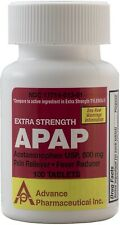 Extra Strength Tylenol Acetaminophen 500mg Pain Reliever 100 Tablets per Bottle