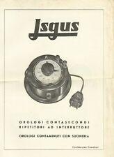 Catalogo Isgus Orologi Contasecondi Fotografia 1953 c.a