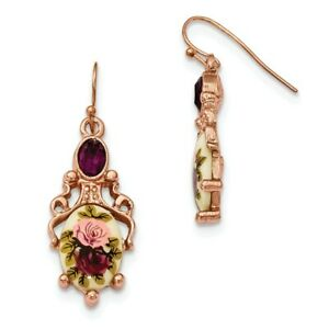 Dark Purple Crystal & Floral Decal Dangle Wire Earrings Rose Tone 1928 Boutique