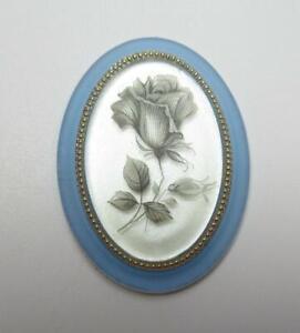 Vintage Cameos 40X30mm Silver Rose Cabochons Matte Blue Crystal Base German 1pc