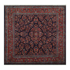 """6'8"""" x 6'10"""" Square Hand Knotted 100% Wool Saroukk Oriental Area Rug Navy"""