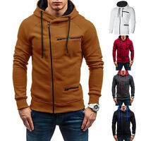 US Mens Slim Fit Hoodie Zip Hooded Sweatshirt Sports Running Jacket Coat Outwear
