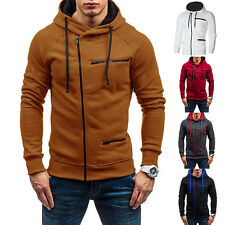 Men Slim Fit Zip Up Hoodie Hooded Sweatshirt Sports Joggers Jacket Coat Outwear