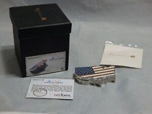 Objet d'art Work of Art America The Beautiful Flag Jeweled Enameled Trinket Box