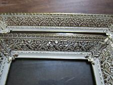 2 Vtg Gold Tone Filigree Metal Ornate Picture Frame-Hollywood Regency EASEL