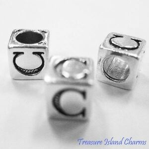 Letter C 925 Solid Sterling Silver Alphabet 7mm Block Bead 5mm Hole Diameter