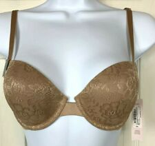 New Ambrielle Bra 32B Back Smoothing Demi Underwire Beige Padded Floral Lace