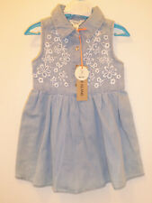 RIVER ISLAND Beautiful Baby Girls Blue Embriodered DESIGNER Dress 0-3 Months
