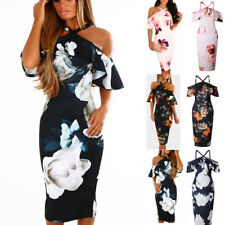 Women Floral Cold Shoulder Cross Halter Neck Bodycon Evening Party Midi Dress