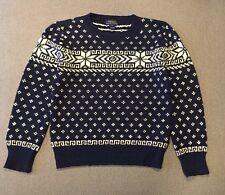 NWOT Polo Ralph Lauren boys Sz S 8 Navy Snowflake Cotton Linen Sweater $95