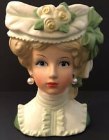 """Teen Lady Head Vase 7"""" Inarco Blonde Faux Pearl Earing White Yellow & Green"""