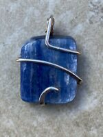 40.50ct Polished Blue Kyanite Freeform In Forged Wire Sterling Silver Pendant