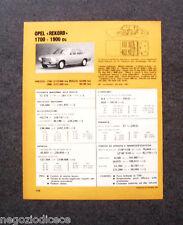 BE38 - Clipping-Ritaglio -1973- MINI SCHEDA TECNICA , OPEL REKORD 1700 - 1900 cc