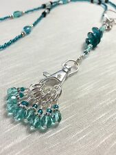 Knitting Stitch Marker Necklace & SNAG FREE Markers- Teal Blue