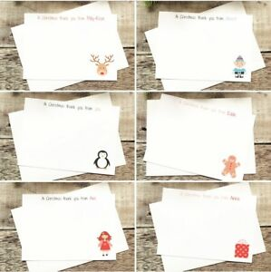 10 x Personalised Christmas Thank You Cards Notes Cute Children Kids