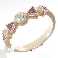 Beautiful 14k Yellow Solid Gold Diamonds &Trilliant Cut Red Ruby Band Ring TPJ