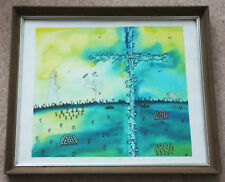Modern surrealist watercolour 'Figures in white robes and a sheep' signed Lofto