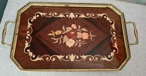 Vintage Italian Sorrento Inlaid Marquetry Wood & Brass Serving Tray - Lacquered