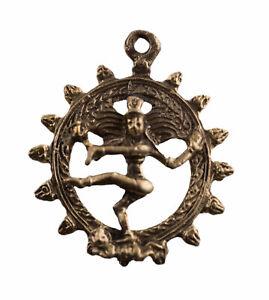 Pendentif Shiva Nataraja danse de la félicité Amulette Laiton Déité Hindou 2187