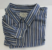 Mens LL Bean Long Sleeve Shirt Blue & White Stripes Size XXL