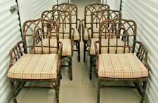 McGuire Furniture Company Rattan and Leather Dining Room Arm Chairs - Set of Six