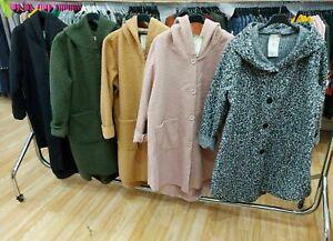 New Women's Ladies Italian Teddy Bear Fur Wool Hooded Button Jacket Coat 10-18