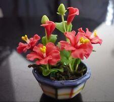 Red Hibiscus Plant in Pot Dollhouse Miniatures Deco Garden