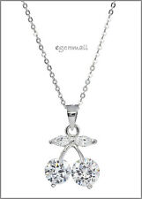 Sterling Silver CZ Cherry Pendant with Clear CZ #65462