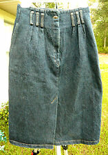 Punk Grunge Vtg Sz Xxs Xs 80S 90S Black Denim Heavy Straight Wiggle Skirt Women