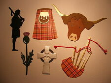 Scotland Thistle Kilt Bagpipe Silhouette Celtic Cross Highland Cow Die Cuts