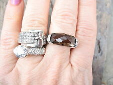 14 KT White Gold Checkerboard Faceted Smokey Quartz Gemstone & Diamond Ring NEW