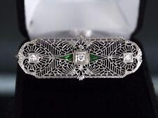 VINTAGE 14k Oro Blanco Sintético Verde Esmeralda Diamante Art Déco Broche